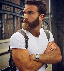 1281 (rrttrrtt555) Tags: hair hairy muscles arms beard watch ring backpack stare shirt masculine chest flex