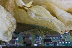 Chips with a Side of Chips (brucetopher) Tags: macromondays chips macro monday mondays chip chipping fried harddrive computer parts snack salty salted silicon microchip chipss chp chps potatochips potato crunchy