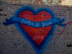 Esther & Shawn - 23.10.16 (Steve Taylor (Photography)) Tags: esther shawn 231016 love heart ryan kisses xxx xx banner art digital graffiti streetart tag wall blue brown red mauve aerosol spray paint newzealand nz southisland canterbury christchurch cbd city