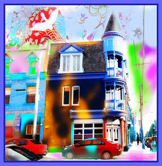Blue corner House of Montréal (Only time heals wounds) Tags: 20170305lovingyou architecture maison montréal québec lucarnes fenêtres ruevisitation blue bleue verte collage digitalart