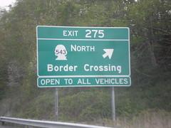 I-5 North - Exit 275 (sagebrushgis) Tags: biggreensign intersection freewayjunction bordercrossing internationalboundary sign washington blaine i5 wa543
