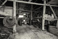 Tobacco shed (citrusjig) Tags: pentax k3 blackandwhite toned starvalleyflowers monochrome sigma1020mmf456 tobaccoshed farmequipment