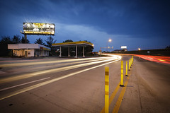 Abandoned Gas Station II (Notley) Tags: sky clouds cloudysky evening bluehour thebluehour missouri notley notleyhawkins 10thavenue gasstation petrol gas petrolstation httpwwwnotleyhawkinscom missouriphotography notleyhawkinsphotography 2017 longexposure lighttrails abandoned billboard may dusk columbiamissouri businessloop sign