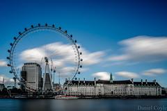 London Eye (Daniel Coyle) Tags: londoneye londoneyeandcountyhall cocacolalondoneye shellbuilding river thames riverthames water longexposure london clouds blur centrallondon nikon nikond7100 d7100 danielcoyle