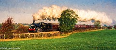 The Steam Train (M C Smith) Tags: steam train smoke green field brown trees grasses sky blue clouds white carriages track grass