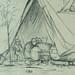 COURBET Gustave - Tente abritant des Tonneaux, Figure, Âne, Etudes (drawing, dessin, disegno-Louvre RF29234.8) - Detail 07
