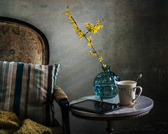 Stillness in blue (christina.todorov) Tags: blue flower yollow tea chair blanket pillow texture nikon vase tablet table
