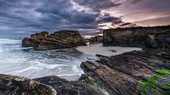 Pointing Rocks (Explored) (Eduardo Regueiro) Tags: beach playa sunrise amanecer galicia spain españa lugo rocas rocks lascatedrales risco bajamar tide cliff