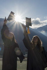 New Day - The Thrill of Graduating (aaronrhawkins) Tags: graduation college university byu brighamyounguniversity robes gowns hats mortarboard models girls brittany christina jfsb campus throw happy sunlight backlight ymountain celebrate cheer graduates toss aaronhawkins