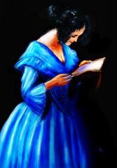 The Reader (Pat McDonald) Tags: artrage digitalart guapa guapísima pixabay retrato beauty reading blue dress darkhair concentration elegance httpspixabaycomenbookreaderreadingwoman2029743