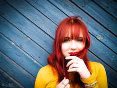 RYB (Kalev Lait photography) Tags: portrait people redhead contrast color blue yellow red diagonals door wooden dreamy vivid eyes ryb feminine estonianwoman