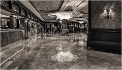 Silver Legacy Hotel Registration Lobby (jerrywb2010) Tags: reno nevada architecture interior hotel bw nikon slowshutter handheld