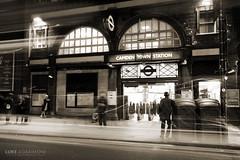 Camden Town Station (Luke Agbaimoni (last rounds)) Tags: camden camdentown londonunderground londontube london underground tube blackandwhite monochrome sepia roundel station night