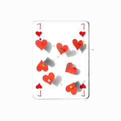 seven of hearts (brescia, italy) (bloodybee) Tags: 365project playingcards cards play game 7 seven heart pin shadow red white square stilllife