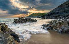 Fall bay & Sky (absynth100) Tags: ocean sea rocks sky sunset sand landscape gower bay seascape waves clouds golden light beach coast water shore rock