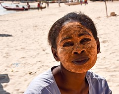 Painted Malagasy Woman (Rod Waddington) Tags: afrique africa madagascar malagasy woman portrait people painted face beach ifaty outdoor