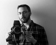 Self Portrait (shawn.miller) Tags: 180mmsekor kodaktmax100 mamiyarb67 selfportrait offcameraflash strobist believeinfilm mediumformat 6x7 120film blackandwhite alienbees b800 softbox portrait