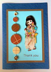 APC100 (tengds) Tags: card thankyoucard recycledcard handmadecard darkblue skyblue brown circles japanesegirl kimono papercraft tengds
