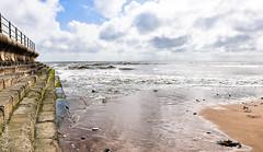 Tide coming at Dumpton Gap (philbarnes4) Tags: broadstairs thanet kent england dumpton gap sea sand sky clouds tide water wall seawall