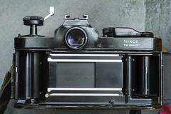 Nikon FM patina and back (Arne Kuilman) Tags: nikon nikonfm koningsdag cleaned seals operation schoon camera slr 1988 black zwart classic repair patina