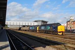 37688 and 37510 Derby 03/02/2011 (Brad Joyce 37) Tags: 37688 37510 6z50 class37 derby tractor drs locomotive doubleheader scrap freight train station sunshine bluesky nikon