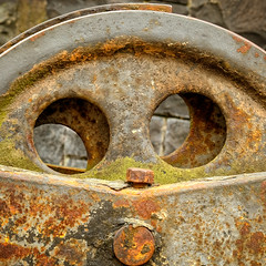 Old Machinery - Bamburgh Castle (S.R.Murphy) Tags: april2017 bamburgh bamburghcastle fuji1855mm fujifilmxt2 old rust texture square squareformat circles circle