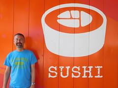Kenny/Sushi (kenjet) Tags: color colorful orange wall paint mural sushi me ken kenny kenjet self vacation orlando florida universal universalstudios universalstudiosorlando themepark