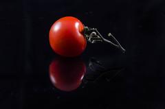 Tomato (timgaston) Tags: reflection black fruit red tomato