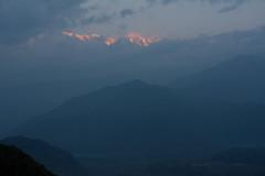 Pink sunrise on snowy mountain tops (suebunnybungard) Tags: sunrise himalayas nepal sarangkot landscape