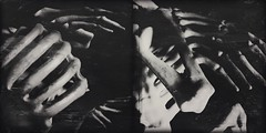 Possess(ed)-10244 (Poetic Medium) Tags: moldiv skeleton toy blackandwhite mextures possession ipod bones diptych