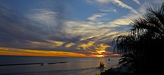 Shrimp Boats Heading Out At Sunset (showmesavings) Tags: shrimpboats palmtree waves clouds colorfulsky