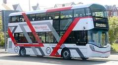 A very striking unregistered Wrightbus StreetDeck micro hybrid technology Demonstrator noted parked up at Gynn Square in Blackpool on Monday 8 May.   Update Aug 2017 now registered SK17HHC. (Gobbiner) Tags: wrightbus demonstrator hybrid streetdeck microhybridtechnology sk17hhc
