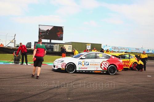 Daniel Lloyd on the grid at the Thruxton BTCC weekend, May 2017