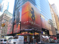 Wonder Woman 42nd Street Billboard DC Comics 5569 (Brechtbug) Tags: wonder woman battle armor times square billboard theater posters 42nd st 7th ave broadway nyc 05082017 movie billboards new york city work working worker paint painting advertisement dc comic comics hero superhero krypton alien dark knight bat adventure book character shield s insignia red blue man for may 2017 sword brunette amazon paradise island mythology myth mythological batman superman jla not linda carter