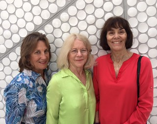 Philanthropist Pam Garrison with Lynn Wheeler and artist Leslie Rivera at the opening of the new Frost Science Museum