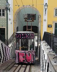 Disko (peterphotographic) Tags: p3280639edwm disko ruadesãopaulo elevadordabica olympus em5mk2 microfourthirds ©peterhall tram lisbon lisboa portugal europe pink city cityscape urban steep hill slope rail station