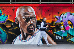 Michael Jordan and a Baguette (Andrew G Robertson) Tags: shoreditch london graffiti street art streetphotography canon85mmf12 f12 michael jordan