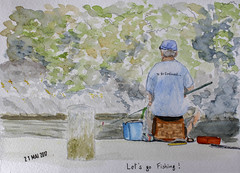 May daily challenge 21 - Let's go fishing! (chando*) Tags: aquarelle watercolor croquis sketch