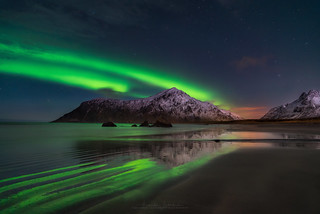 Northern Lights at Skagsanden Beach