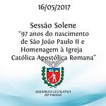 Sessão Solene Comemorativa aos 97 anos do nascimento de São João Paulo II e Homenagem à Igreja Católica Apostólica Romana