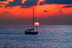 Sailing at sunset - Tel-Aviv beach (Lior. L) Tags: sailingatsunsettelavivbeach sailing sunset telaviv beach sailboat sea travel telavivbeach reflection sky cloudysunset clouds israel travelinisrael