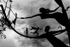 Perpetual Hope (Viejito) Tags: perpetualhope allenroot davidcurry davidhinman ferromobius sanluisobispo design execution innovative california slo park mitchellpark ososstreet santarosastreet pismostreet buchonstreet usa unitedstates geotagged geo:lat=35279157 geo:lon=120657769 amerika amérique américa america canon powershot s100 canons100 500x500 sculpture beeldhouwwerk bronze art arte kunst tree sky clouds blackwhite blackandwhite bw monochrome youth generation children adult iron rust color promise future leaves