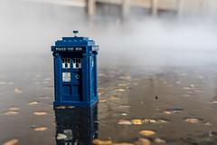 TARDIS in the mist (Ballou34) Tags: 2017 7dmark2 7dmarkii 7d2 7dii afol ballou34 canon canon7dmarkii canon7dii eos eos7dmarkii eos7d2 eos7dii flickr lego legographer legography minifigures photography stuckinplastic toy toyphotography toys londres england royaumeuni gb london doctor who tardis fog mist phone box blue