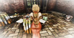 Table For 1 Please !! (Sparkle Mocha) Tags: monso jane gown long dress formal dinner eat supper brick cafe maitreya secondlife avie avatar blonde flowers cynful maxi