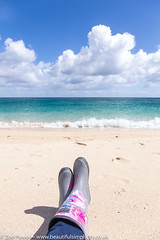 Not a bad view! | Porthcurno beach, Cornwall (Zoë Power) Tags: turquoisesea beach uk wellies whitesand joules blueskies porthcurno sand cornwall coast sea