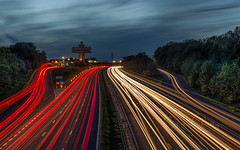 Speed of Light (Starman_1969) Tags: bridge cars forton light motorway trails