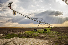 The Thirst Quencher (For Crops) (SteveFrazierPhotography.com) Tags: irrigation system water farm farming agriculture field plowed automatic crop farmland food growing macine mechanical pump rural sky spray wheels pipe midwest america illinois overhead equipment mositure pivot usa unitedstates stevefrazierphotograph canoneos60d