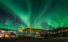 aurora lightens up the night (ciwi.photography) Tags: greenland grönland southgreenland südgrönland aurora auroraborealis qaqortoq ships harbour nordlicht polarlicht night greensky longexposure