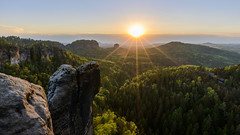 Feels like summer (derliebewolf) Tags: landschaft natur wald sunset nature mountains sunburst flare sky landscape hiking summer spring travel mountaintop saxonswitzerland germany bluesky thunderstorm green forest hills d800 nikon hdr exposurebracketing