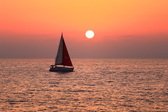 Sailing at sunset - Tel-Aviv beach (Lior. L) Tags: sailingatsunsettelavivbeach sailing sunset telaviv beach silhouette sailboat telavivbeach travel israel sail